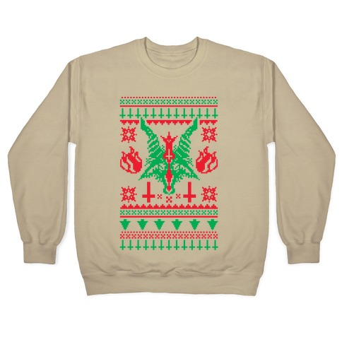 Satanic Christmas Sweater.Baphomet Ugly Christmas Sweater Crewneck Sweatshirt Lookhuman