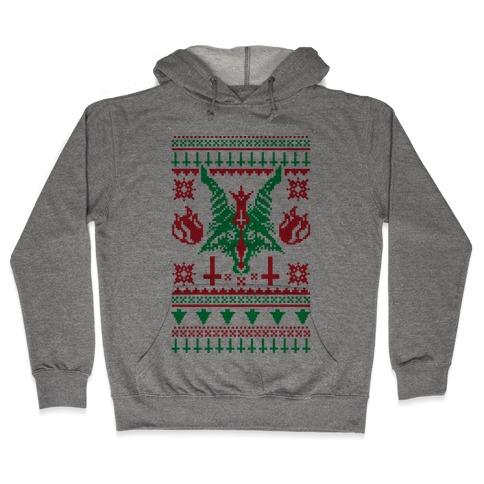 Baphomet Ugly Christmas Sweater Hooded Sweatshirt