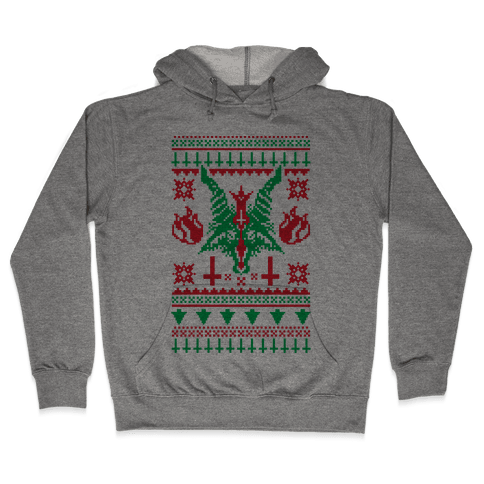 Baphomet Ugly Christmas Sweater  Hooded Sweatshirt