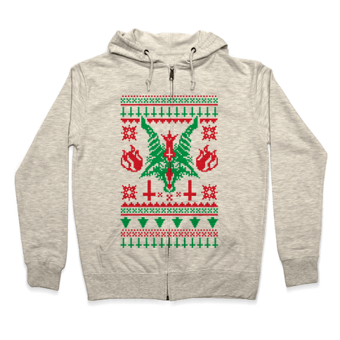 baphomet ugly christmas sweater zip hoodie