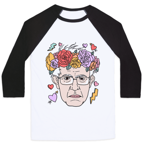 Bernie With Flower Crown Baseball Tee