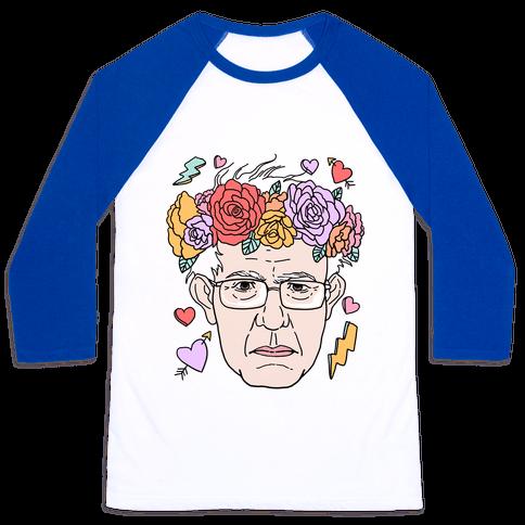Bernie With Flower Crown Baseball Tee