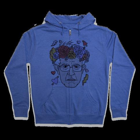 Bernie With Flower Crown Zip Hoodie