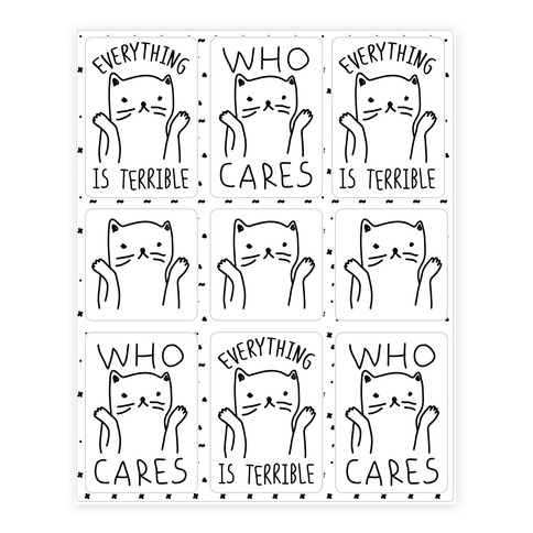 Who Cares Cat Sticker/Decal Sheet