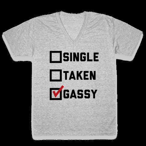 Single Taken Gassy V-Neck Tee Shirt