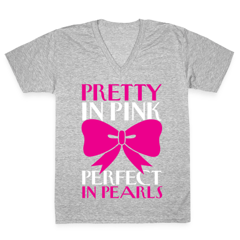 Pink And Pearls V-Neck Tee Shirt