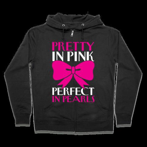 Pink And Pearls Zip Hoodie
