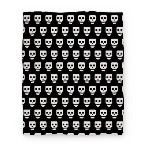 Spoopy Pixel Skull Blanket