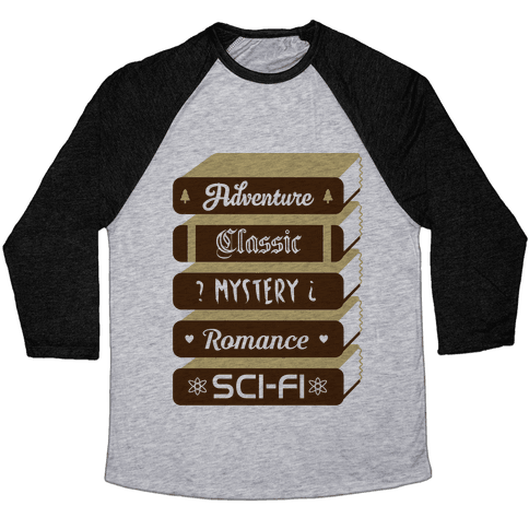 Book Stack Baseball Tee