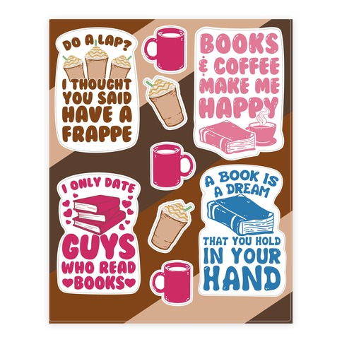 Coffee and Books Sticker and Decal Sheet