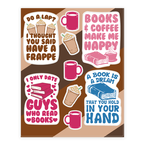 Coffee and Books  Sticker/Decal Sheet