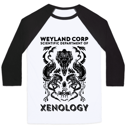Weyland Corp Scientific Department Of Xenology Baseball Tee