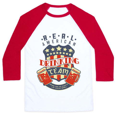 Real American Drinking Team Baseball Tee
