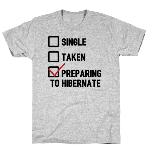 Single, Taken, Hibernating Mens T-Shirt