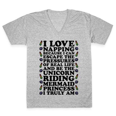 I Love Napping V-Neck Tee Shirt