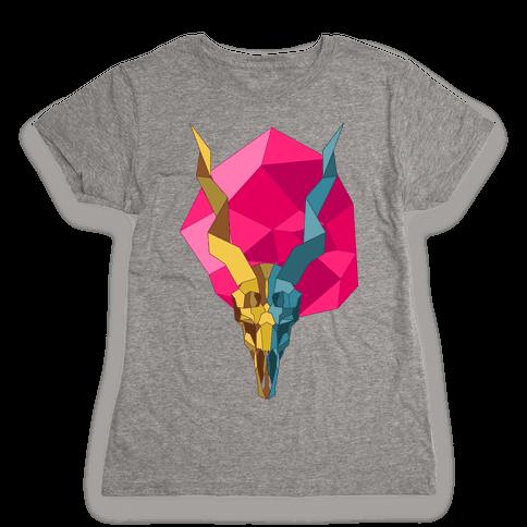 Geometric Blackbuck Skull Womens T-Shirt