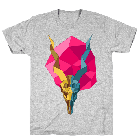 Geometric Blackbuck Skull Mens T-Shirt