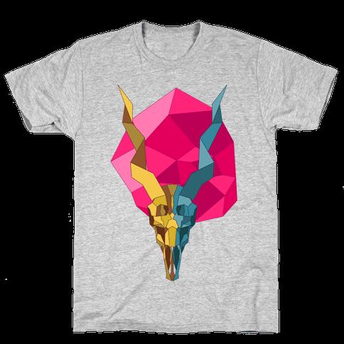 Geometric Blackbuck Skull Mens T-Shirt