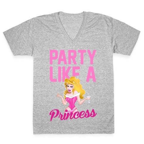 Party Like A Princess V-Neck Tee Shirt