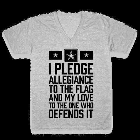 I Pledge Allegiance To The Flag (Army) V-Neck Tee Shirt
