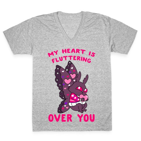 My Heart Is Fluttering Over You V-Neck Tee Shirt