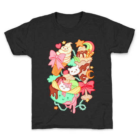 Cute Cat Sundae & Kawaii Ice Cream Kids T-Shirt