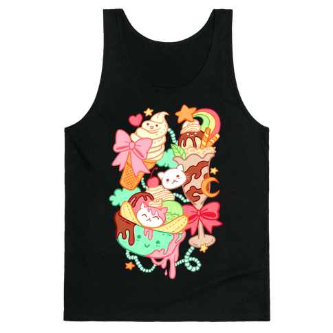 Cute Cat Sundae & Kawaii Ice Cream Tank Top