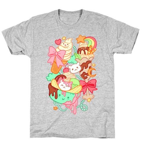 Cute Cat Sundae & Kawaii Ice Cream T-Shirt