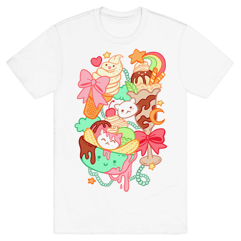 Cute Cat Sundae & Kawaii Ice Cream Mens T-Shirt