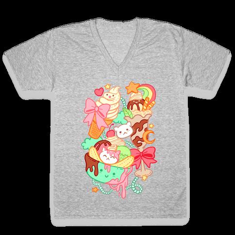 Cute Cat Sundae & Kawaii Ice Cream V-Neck Tee Shirt