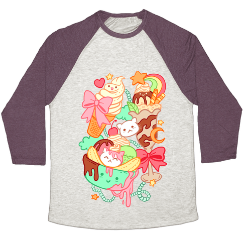 Cute Cat Sundae & Kawaii Ice Cream Baseball Tee