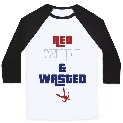 Red White & Wasted Baseball Tee