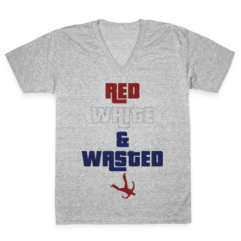 Red White & Wasted V-Neck Tee Shirt