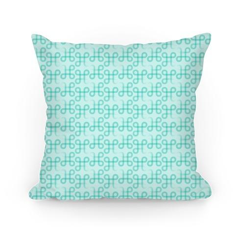 Teal Geometric Loop Pattern Pillow