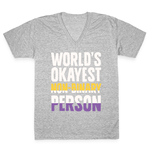 World's Okayest Non-Binary Person V-Neck Tee Shirt