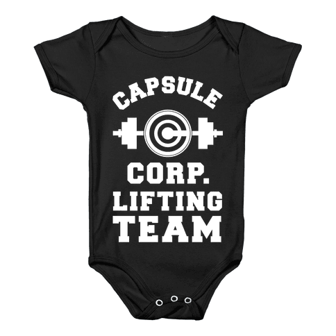 Capsule Corp. Lifting Team Baby Onesy