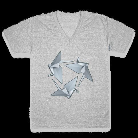 Origami Paper Crane V-Neck Tee Shirt