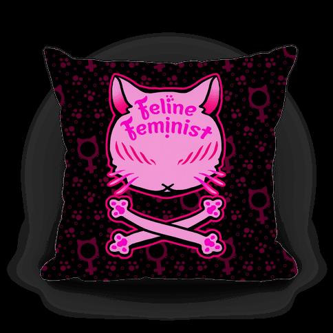 Feline Feminist Pillow