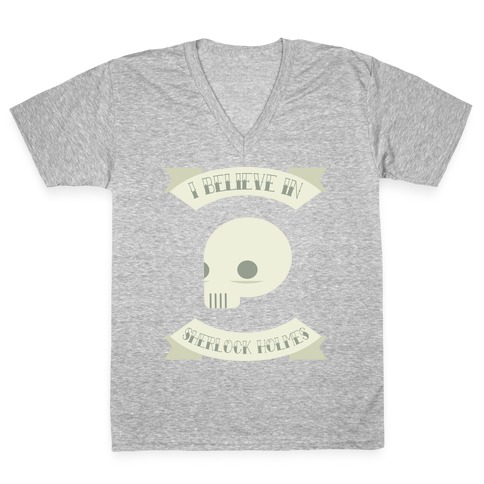 I BELIEVE IN SHERLOCK HOLMES (tank) V-Neck Tee Shirt