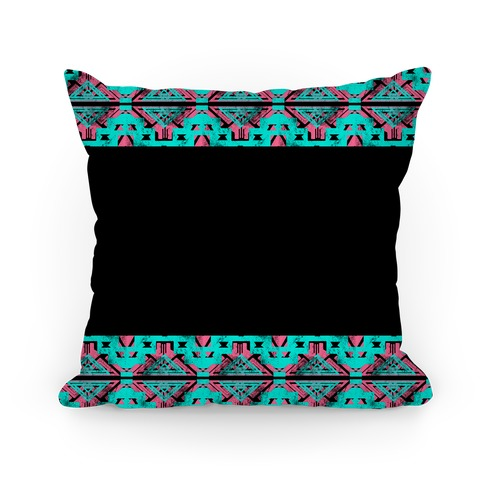 Teal and Pink Aztec Pattern Pillow