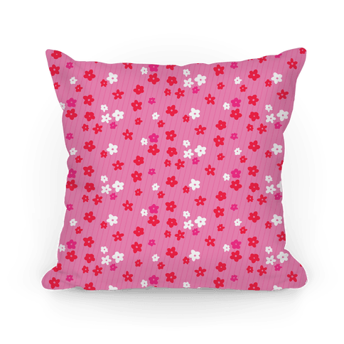 Little Floral Meadow Pattern (Pink) Pillow