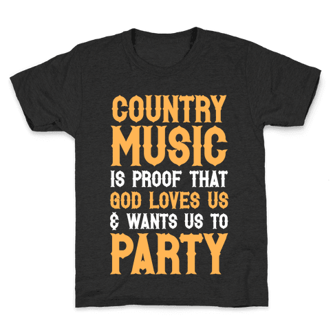 Proof That God Loves Us & Wants Us To Party (White Ink) Kids T-Shirt