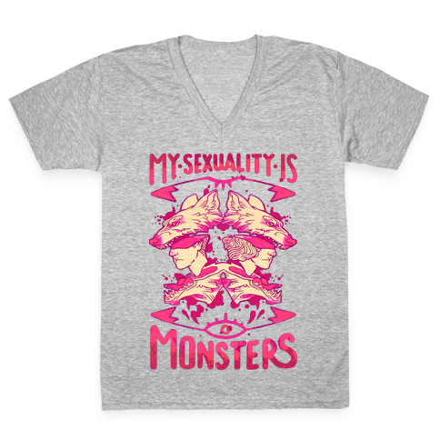 My Sexuality Is Monsters V-Neck Tee Shirt