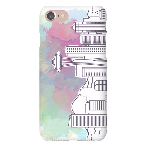 Seattle Graphic Watercolor Cityscape Phone Case