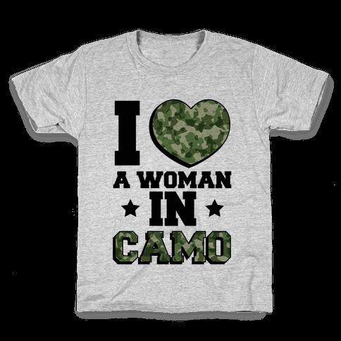 I Love A Woman In Camo Kids T-Shirt