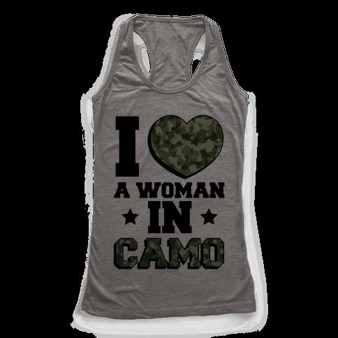 I Love A Woman In Camo Racerback Tank Top