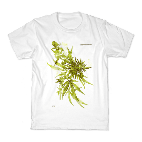 Cannabis Botanical Illustration Kids T-Shirt