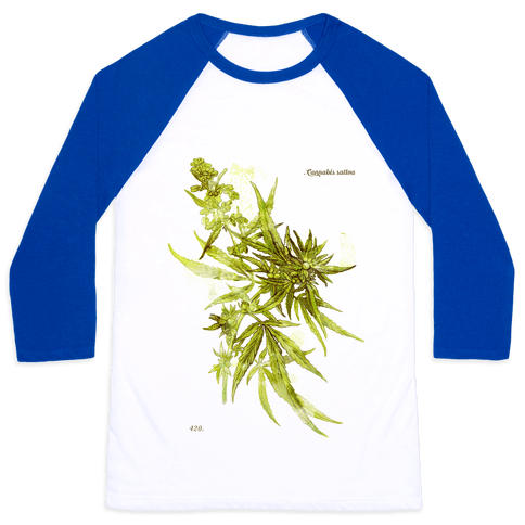 Cannabis Botanical Illustration Baseball Tee