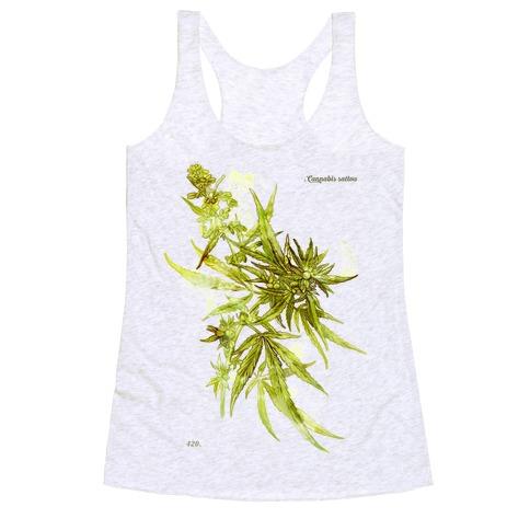 Cannabis Botanical Illustration Racerback Tank Top