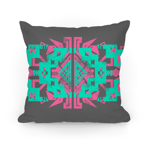 Gray and Teal Aztec Pattern Pillow